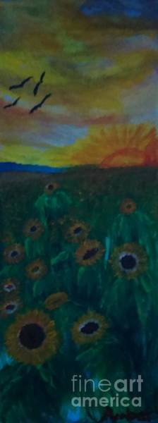 Samsung Galaxy S6 Wall Art - Painting - The Sunflower Patch by Amber Waltmann