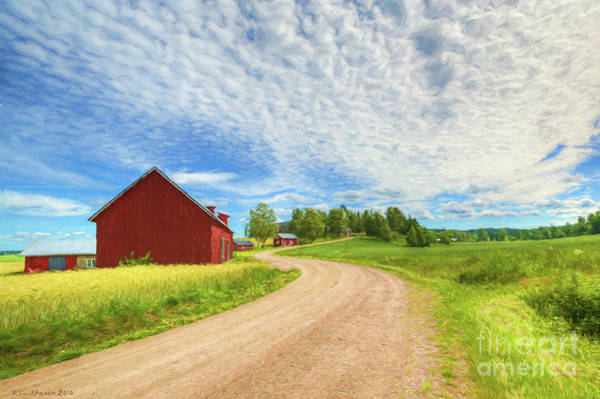 Red Barn Painting - The Sunny Afternoon by Veikko Suikkanen