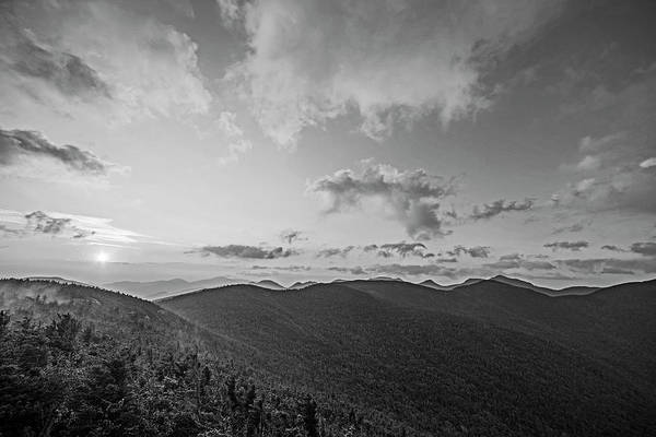 Photograph - The Sunrise From Phelps Mountain Summit In The Adirondacks Red Clouds Black And White by Toby McGuire