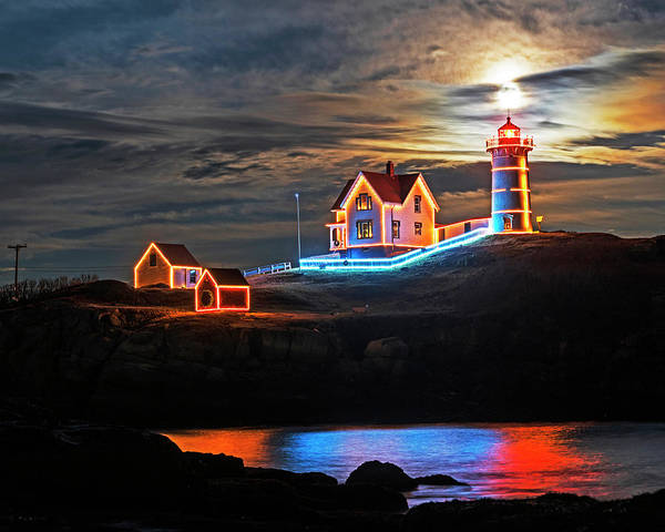 Photograph - The Supermoon Rising Over The Nubble Lighthouse York Maine Reflection by Toby McGuire