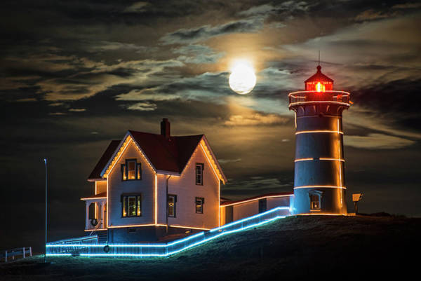 Photograph - The Supermoon Rising Over The Nubble Lighthouse York Maine by Toby McGuire
