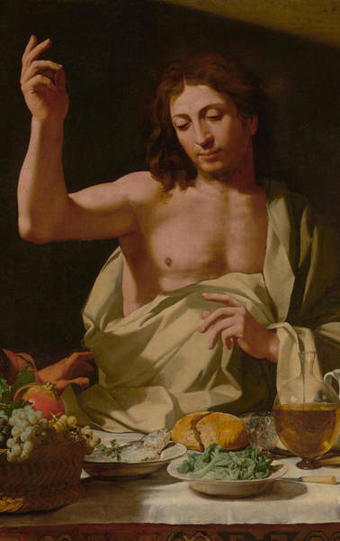 Sacrament Wall Art - Painting - The Supper At Emmaus-detail by Bartolomeo Cavarozzi