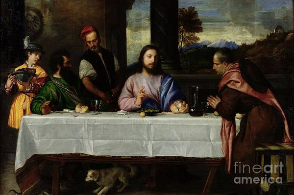 Tablecloth Painting - The Supper At Emmaus by Titian