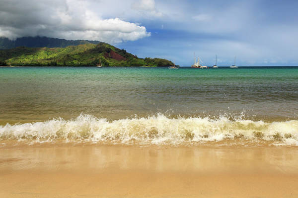 The Surf At Hanalei Bay Art Print