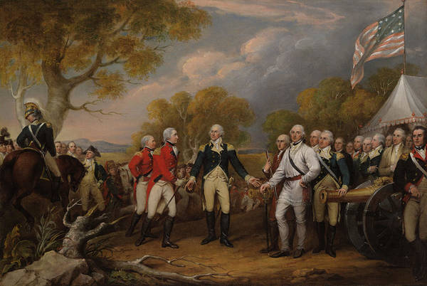 Surrendering Painting - The Surrender Of General Burgoyne At Saratoga, Oct 16, 1777 by John Trumbull