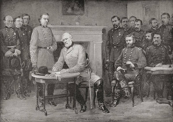 Wall Art - Drawing - The Surrender Of General Lee To General by Vintage Design Pics