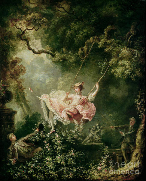 Flirtatious Painting - The Swing  by Jean-Honore Fragonard