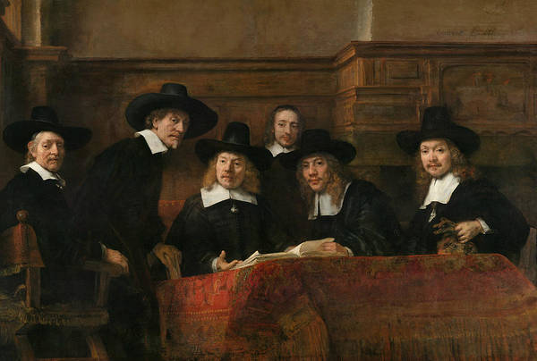 Amsterdam Painting - The Syndics Of The Amsterdam Drapers' Guild by Rembrandt