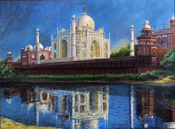 Wall Art - Painting - The Taj Mahal Shrine Of Beauty by Regina Femrite