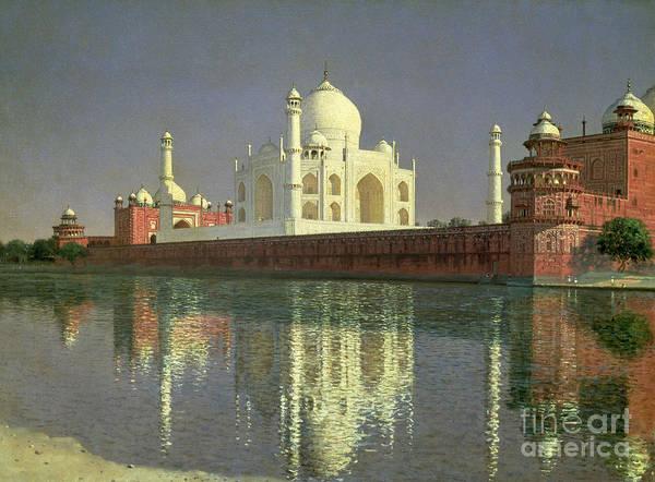 Reflecting Painting - The Taj Mahal by Vasili Vasilievich Vereshchagin