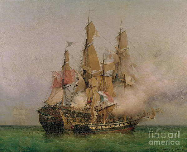 Engagement Wall Art - Painting - The Taking Of The Kent by Ambroise Louis Garneray