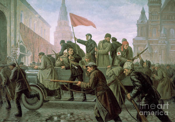 Communist Painting - The Taking Of The Moscow Kremlin In 1917 by Konstantin Ivanovich Maximov