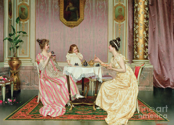Pastries Painting - The Tea Party by Vittorio Reggianini