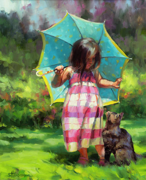 Child Painting - The Teal Umbrella by Steve Henderson