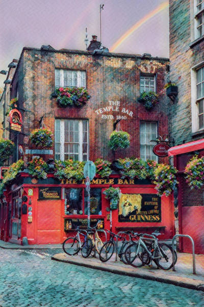 Photograph - The Temple Bar In Ireland Painting by Debra and Dave Vanderlaan
