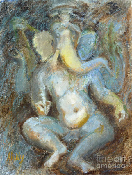 Indian God Painting - The Temple Of Love Ganesh by Ann Radley