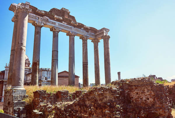 Photograph - The Temple Of Saturn In The Roman Forum by Fine Art Photography Prints By Eduardo Accorinti