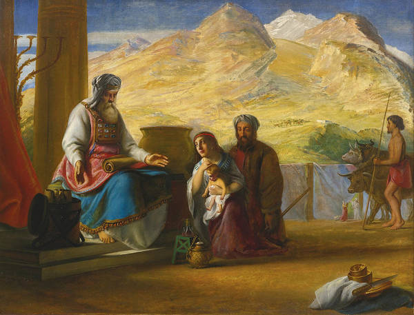 Hannah Painting - The Temple Of The Jews At Shilo. Hannah Presenting The Infant Samuel To The High Priest Eli by Solomon Alexander Hart