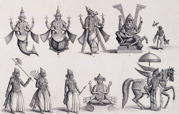 Hindu Drawing - The Ten Avatars Or Incarnations Of Vishnu by English School
