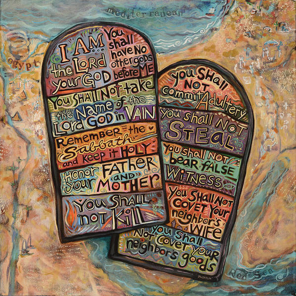 Wall Art - Painting - The Ten Commandments by Jen Norton