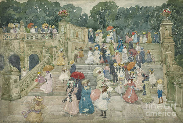 Brazil Painting - The Terrace Bridge, Central Park by Maurice Brazil Prendergast