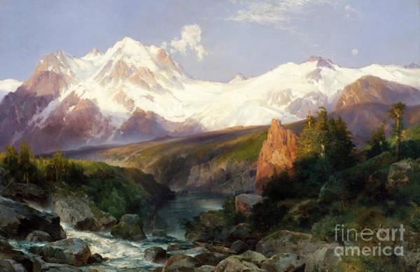 Mountain Range Painting - The Teton Range, 1897 by Thomas Moran