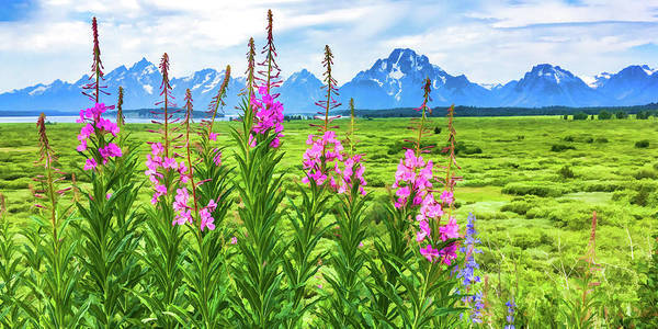 Snow Fence Digital Art - The Tetons Are Grand 2 by Lisa Lemmons-Powers