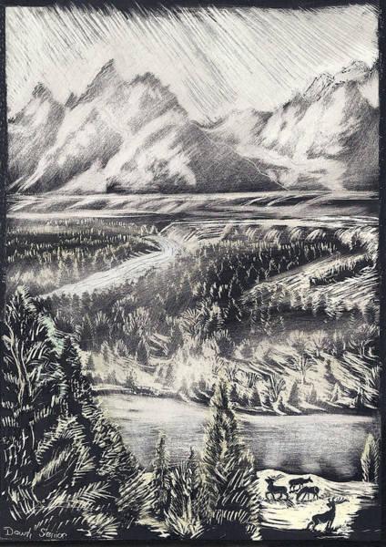 Elk Mountain Drawing - The Tetons by Dawn Senior-Trask