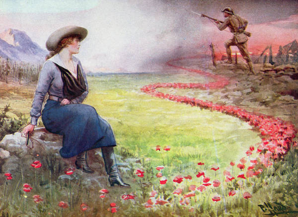 Trench Wall Art - Painting - The Thin Red Line by Harold Hume Piffard