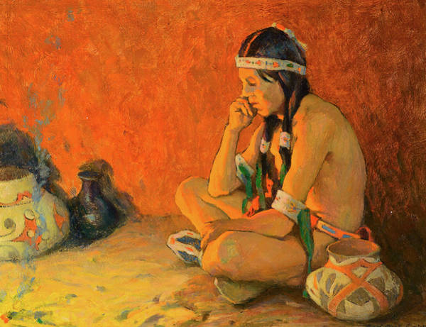 Turkey Feather Wall Art - Painting - The Thinker by Eanger Irving Couse