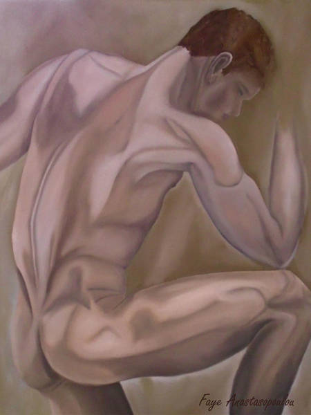 Bodybuilder Painting - The Thinker by Faye Anastasopoulou