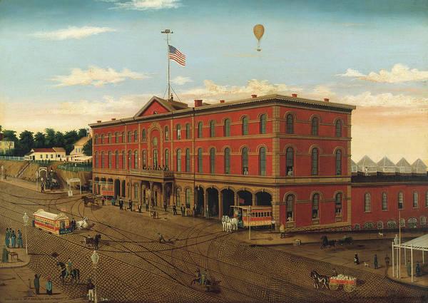 Manhattan Skyline Painting - The Third Avenue Railroad Depot by William Schenck