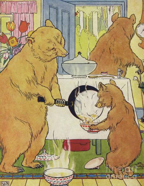 Wall Art - Drawing - The Three Bears Making Their Porridge by Leonard Leslie Brooke