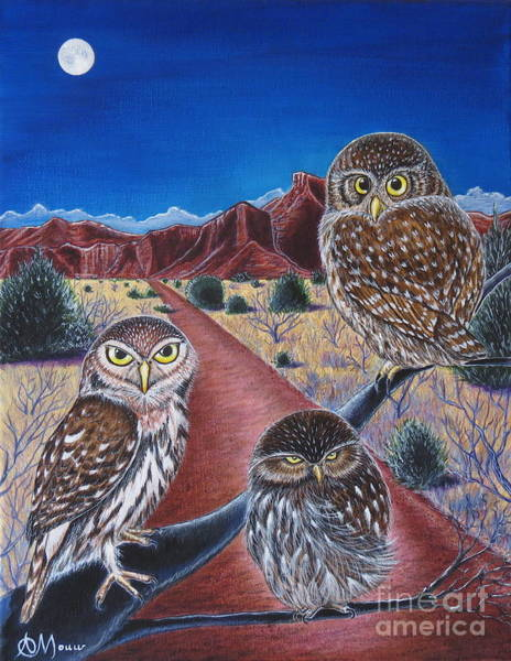 Burrowing Owl Painting - The Three Fates by Aimee Mouw