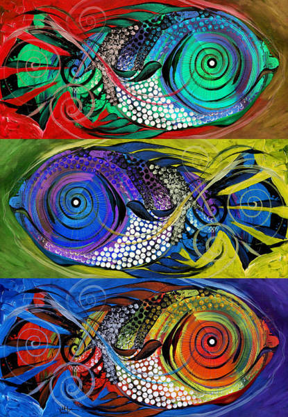 Painting - The Three Fishes by J Vincent Scarpace