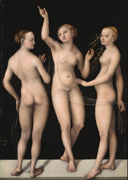 Perfect Body Painting - The Three Graces 1535 by Lucas Cranach The Elder