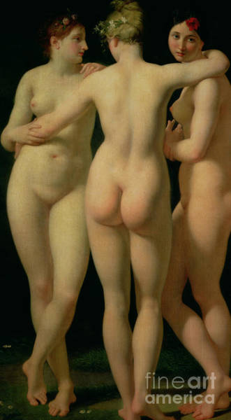 Unclothed Wall Art - Painting - The Three Graces by Jean Baptiste Regnault