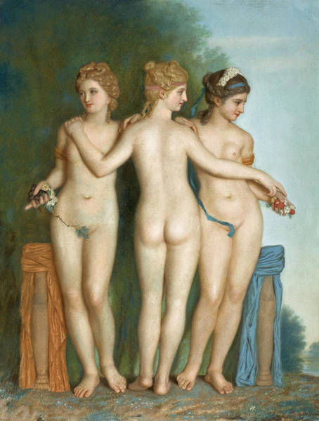 Wall Art - Drawing - The Three Graces by Jean-Etienne Liotard
