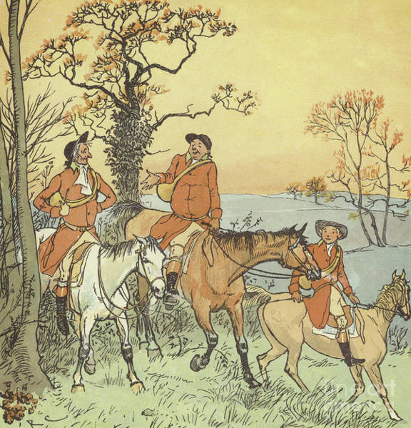 Grass Field Drawing - The Three Jovial Huntsmen by Randolph Caldecott