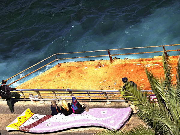 Arte Photograph - The Three Ladies And The Sea In Beirut by Funkpix Photo Hunter