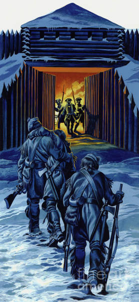 Wall Art - Painting - The Three Rangers, Almost Dead, Staggered Into Fort William Henry To Bring Her To Their Comrades  by Ron Embleton