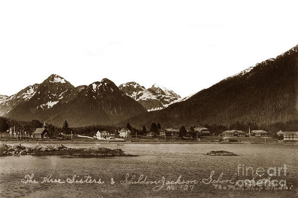 Photograph - The Three Sisters And Sheldon Jackson School Sitka Alaska 1930 by California Views Archives Mr Pat Hathaway Archives