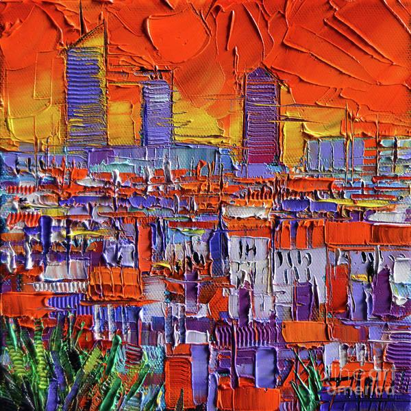 Wall Art - Painting - The Three Towers - Lyon Orange View By Mona Edulesco by Mona Edulesco