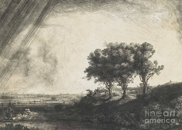Stormy Drawing - The Three Trees by Rembrandt