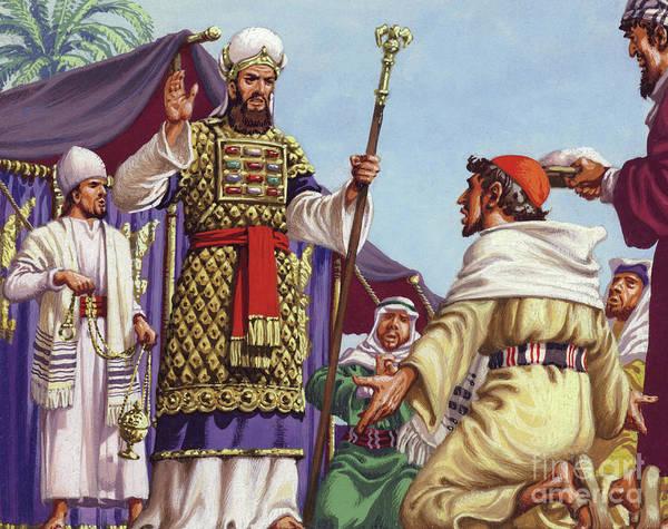 Three Kings Painting - The Three Wise Men Asking Herod by Pat Nicolle