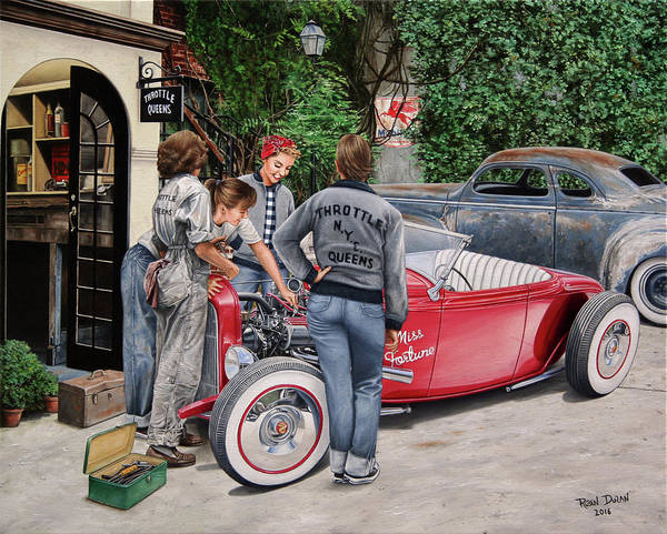 Nostalgia Painting - The Throttle Queens by Ruben Duran