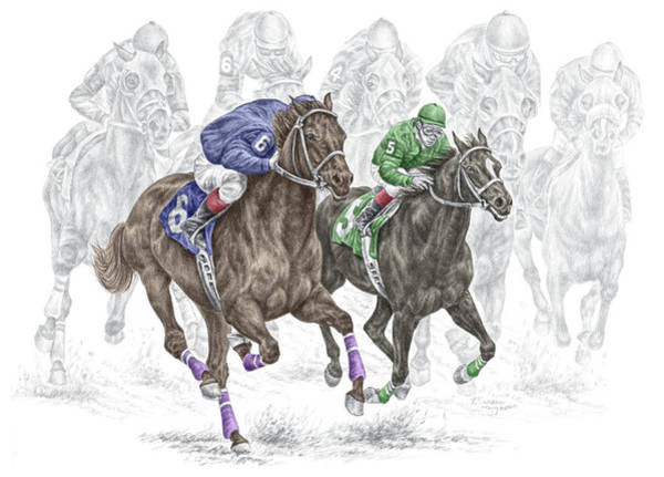 Equestrian Drawing - The Thunder Of Hooves - Horse Racing Print Color by Kelli Swan