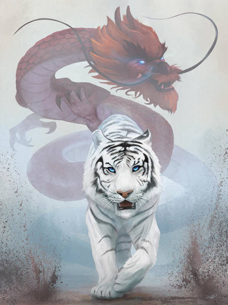 Tiger Digital Art - The Tiger And The Dragon by Steve Goad