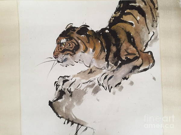 Wall Art - Painting - Tiger At Rest by Fereshteh Stoecklein