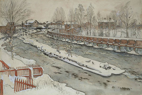 Painting - The Timber Chute. Winterscene. From A Home by Carl Larsson